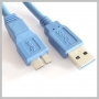 USB A MALE TO MICRO B MALE USB 3.0 CABLE BLUE 6FT